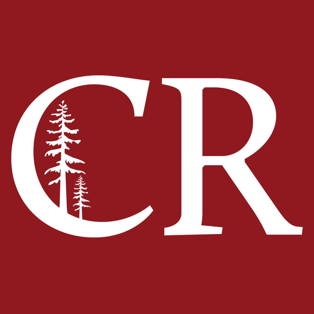 Maroon background. Letters C R in white with a white redwood tree inside the letter C.
