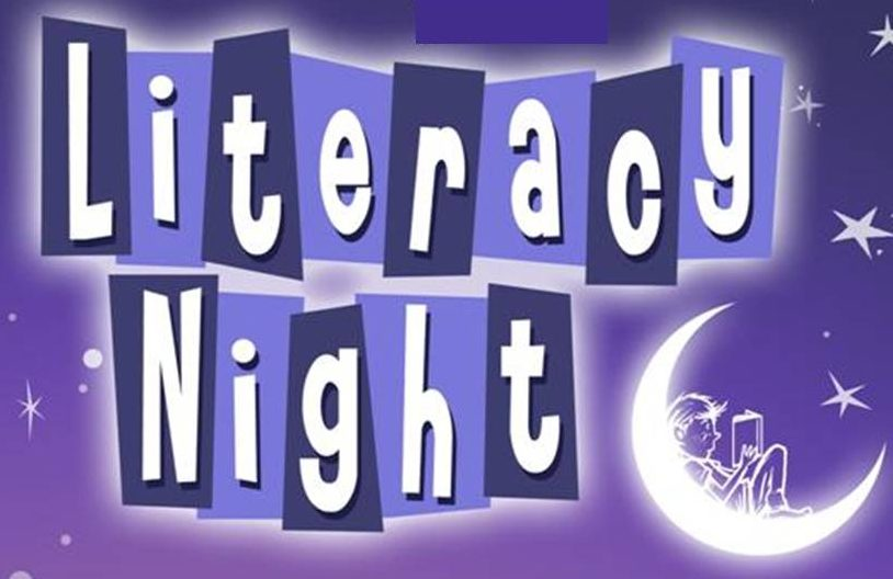 Purple background with Literacy Night text spelled out in squares. Crescent moon in lower right corner.