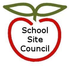 outline of a red apple with School Site Council text inside
